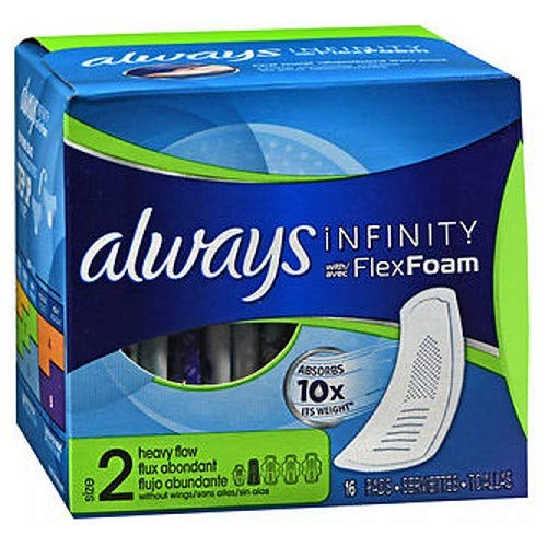 Foam Wing - Always Pads Size 2 Infinity With Flex Foam 14 Count Heavy Flow (2 Pack)