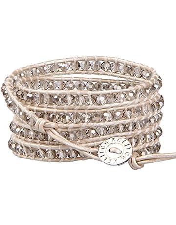 16d924426dac6 KELITCH Fashion Gray Crystal Beaded 5 Wrap Bracelet On Leather Chain New  Jewelry