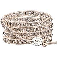 KELITCH Fashion Gray Crystal Beaded 5 Wrap Bracelet On Leather Chain New Jewelry