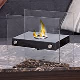 Apontus Portable Ventless Firepit Bio Ethanol Tabletop Fireplace Tempered Glass Burner