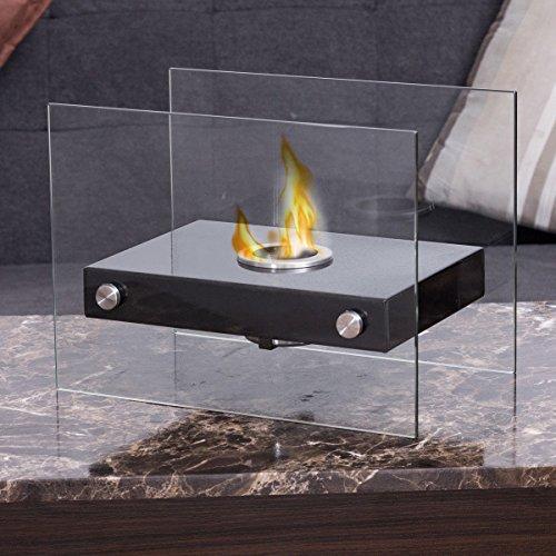 Apontus Portable Ventless Firepit Bio Ethanol Tabletop Fireplace Tempered Glass Burner by Apontus