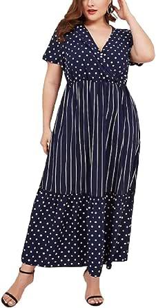 فستان بأكمام قصيرة وياقة على شكل حرف V