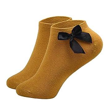 FHCGWZ 5 unids/Set Calcetines de Princesa Kawaii Bowknots Calcetines de Nudo de Las Mujeres Estilo de la Moda Calcetín Corto Vintage Solid Sox: Amazon.es: ...