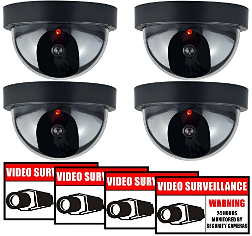 Rockmount Electronics (4 Pack) Outdoor/Indoor Dummy Security Cameras Fake Dome Surveillance Cameras Simulated Lens with Flashing LED Light with (4 Pack) Security Warning Sign Decal Stickers