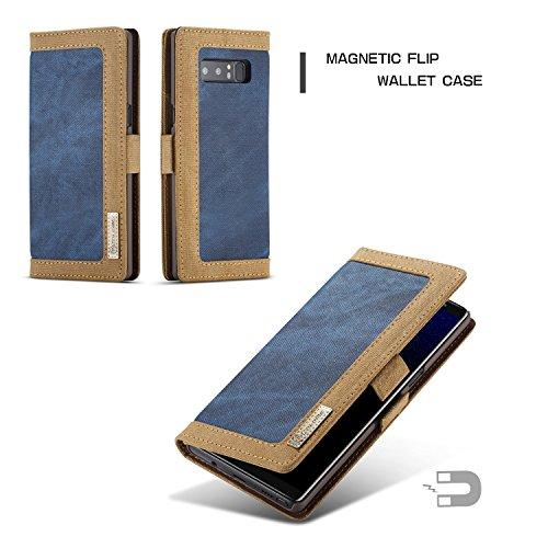 JIALUN-Caja del teléfono o cubierta Caso de soporte de cartera de mezclilla magnética de CaseMe para Samsung Galaxy Note 8 Funda de teléfono de titular de la tarjeta Protege tu teléfono ( Color : Blue Blue