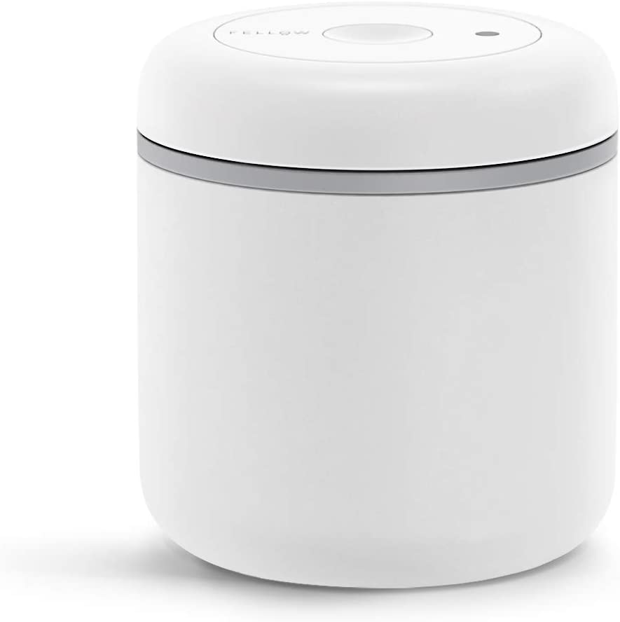 Fellow Atmos Vacuum Canister for Coffee & Food Storage, Matte White, Medium, 0.7 Liter, Integrated Vacuum Pump, Airtight Seal