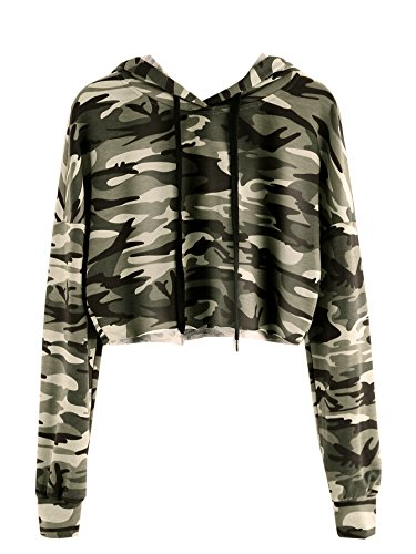 MakeMeChic Women's Long Sleeve Camo Print Sweatshirt Crop Top Hoodies Army Green S (Camo Crop Hoodie)