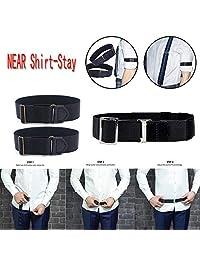 Junshion Ajustable Cerca de la Camisa-Estancia Mejor Camisa Estancias Negro Tuck It Belt Camisa Tucked Mens Camisa Estancias Hombres Cinturón