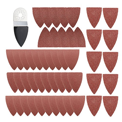 Pukido 51pcs Finger Sanding Sheets Pads Paper Set For Fein Multimaster Bosch Oscillating Multitool
