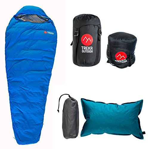 32F-Lightweight-Down-Sleeping-Bag-FREE-Air-Pillow-Combo-3-Season-Mummy-Bag-Compression-Sack-Included-Zip-Two-Together-YKK-zipper-Ultralight-Ultra-Compactable-for-Backpacking-and-Camping