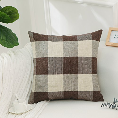 HOME BRILLIANT Brown White Checkers Plaids Linen Europe Pillow Sham Cushion Cover Throw Pillow Cases for Couch Bench Sofa, 26x26inch(66x66cm)