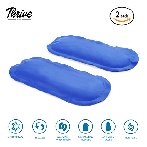 Gel Ice Cold Compress – (2 Pack) – Reusable comfortable soft touch vinyl provides instant pain relief, rehabilitation and therapy from injuries like shoulder, upper/lower back, knee, neck, ankle by Thrive (Image #5)