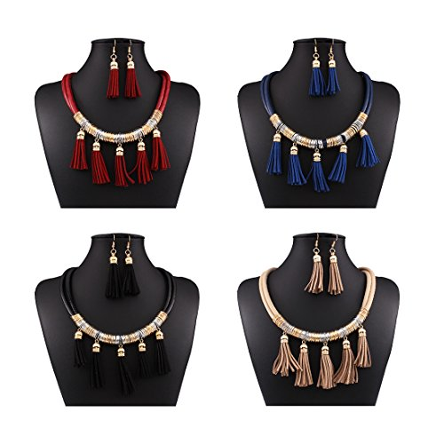 Kissweet Vintage Bohemian Tassel Necklace Earrings Set Multilayer Leather Necklace Fashion Jewelry Set