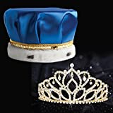 Blue Satin Crown Royalty Set, Blue Satin Crown with Gold Sequin Band, White Fur and 2 7/8 inch High Gold Mirabella Tiara