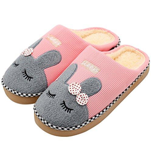 Intérieur chuangminghangqi Molleton dérapant en Pantoufles Coton en Pantoufles Pantoufles Maison Unisexe Hiver Rose Chaudes Pantoufles Anti wrwFPnvqay