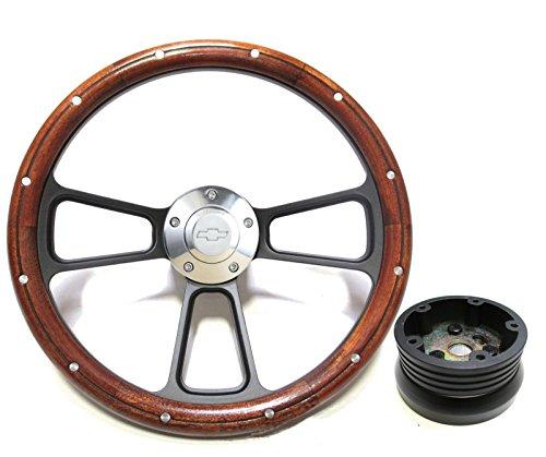 - New World Motoring 1955-1956 Chevy Bel Air, Nomad Custom Wood & Billet Steering Wheel - Full Kit