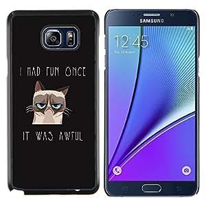 TECHCASE---Cubierta de la caja de protección para la piel dura ** Samsung Galaxy Note 5 ** --Me divertí vez Angry Cat