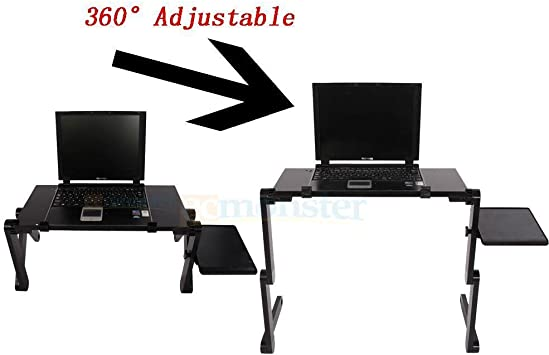 Amazon Com New 360 Adjustable Foldable Laptop Notebook Desk Table Fan Hole Stand Bed Tray Office Products