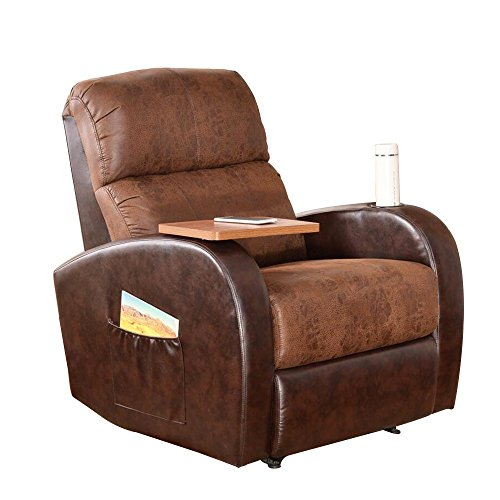 SogesHome 360 Degree Swivel Rocking Recliner Chair Lounge Sofa Living Room Chair ,Brown,sh-535-BR-S (Wooden Rocking Chair Ship)