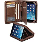 GMYLE(R) Business Portfolio Case for iPad mini Retina - Brown R-64 Pattern PU Leather Protective Slim Folio Stand Case Cover (with Card Slots and Money Pocket)