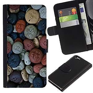 UberTech / Apple Iphone 6 4.7 / Faces Abstract Art Pattern Pastel Original / Cuero PU Delgado caso Billetera cubierta Shell Armor Funda Case Cover Wallet Credit Card