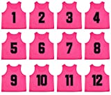 Oso Athletics Set of 12 Premium Polyester Mesh Numbered Scrimmage Vests Pennies Practice Jerseys w/ Carrying Bag for Children, Youth, & Adult Team Sports Soccer, Basketball, Football (Pink, Adult)