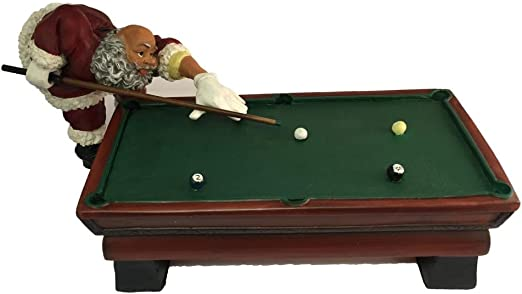 Figura de Papá Noel que juegan al billar billar Estatua con billar ...