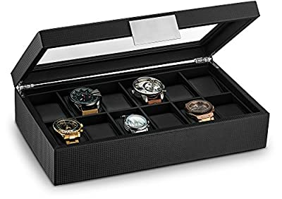 Glenor Co Watch Box for Men - 12 Slot Luxury Carbon Fiber Design Display Case, Large Holder, Metal Buckle -Black