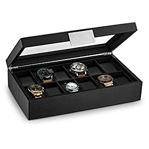 Ratings and reviews for Glenor Co Watch Box for Men - 12 Slot Luxury Carbon Fiber Design Display Case, Large Holder, Metal Buckle -Black