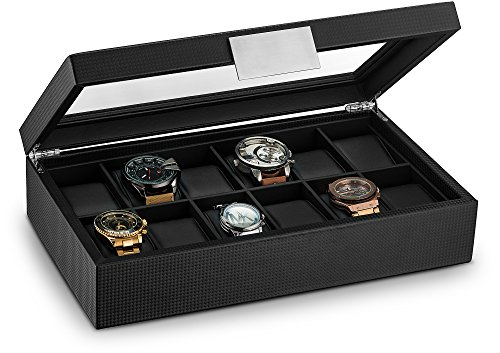 Glenor Co Watch Box for Men - 12 Slot Luxury Carbon Fiber Design Display Case, Large Holder, Metal Buckle -Black Small Mahogany 3 Drawer Chest