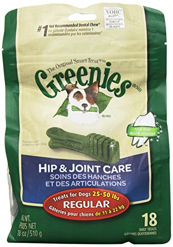 GREENIES Hip and Joint Care Canine Dental Chews, Regular Size, 18 Count