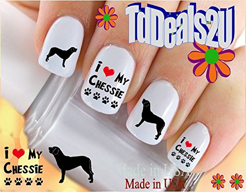 Dog Breed - Chesapeake Bay Retriever Silhouette I Love my Chessie Nail Decals - WaterSlide Nail Art Decals - Highest Quality! Made in - Silhouette Retriever