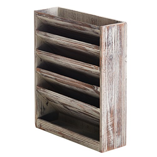 (5 Slot Rustic Torched Wood Document Filing Organizer, Wall Mounted Magazine Rack)