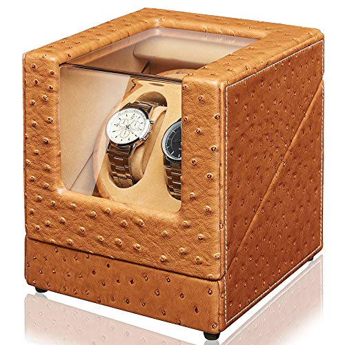 Sepano Automatic Double Watch Winder - Ostrich Leather Watch Winder Box for 2 Watches with Mabuchi Motor (Dual Power Supply)