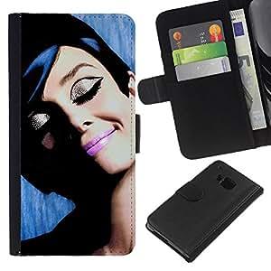 A-type (French Movies Vintage Old Cinema) Colorida Impresión Funda Cuero Monedero Caja Bolsa Cubierta Caja Piel Card Slots Para HTC One M7