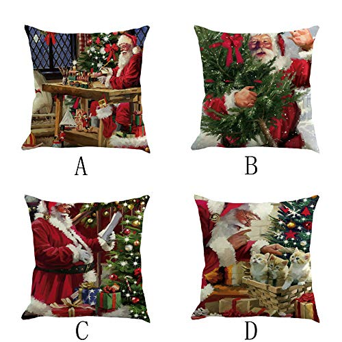 HHmei 4PC Happy Christmas Pillow Cases Linen Sofa Cushion Cover Home Decor Pillow Case Decorations Outdoor Tree Table Lights Blue Home Set Silver Wall Ornaments Party Garlands Multicolor -