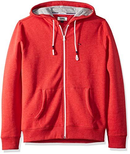 Tommy Hilfiger Men's Hoodie Full Zip up Sweatshirt, Scarlet sage, X-Small