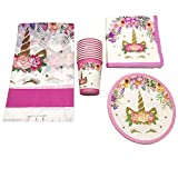 Ohohe2525 61PCS Happy Birthday Party Cups Napkins Beautiful Unicorn Theme Wedding Decoration Tablecloth Baby Shower Girls Favors Plates