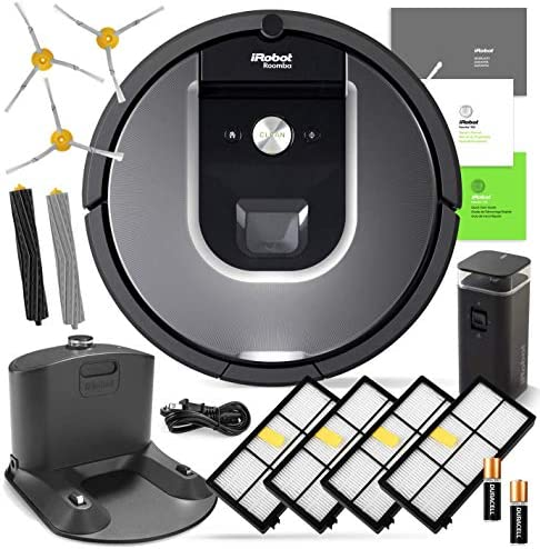 iRobot Roomba 960 Robot Vacuum Bundle- Wi-Fi Connected, Mapping, Ideal for Pet Hair 3 Extra Edge-Sweeping Brushes, 4 Extra Filters, 1 Extra Set of Rubber Brushes