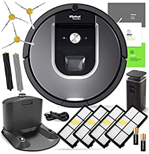 iRobot Roomba 960 Robotic Vacuum Cleaner Wi-Fi Connectivity + Manufacturer's Warranty + 3 Extra Sidebrushes + 4 Extra High Efficiency Filters + Set of Aeroforce Extractors + More!
