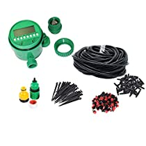 82FT Drip Irrigation Kit with Timer Sprinklers System for Garden Included Irrigation Tubing Hose Timer Drippers and Various Watering DripKits