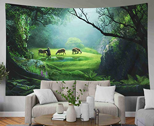 Sheep Tapestry - Musesh Hanging Wall Tapestry, Landscape Tapestry Wall Hanging for Bedroom Living Room Decor Inhouse Shepherd with Sheep in deep Forest on Grass Beside a Lake Beautiful Sunlight 60x50 Inches Size