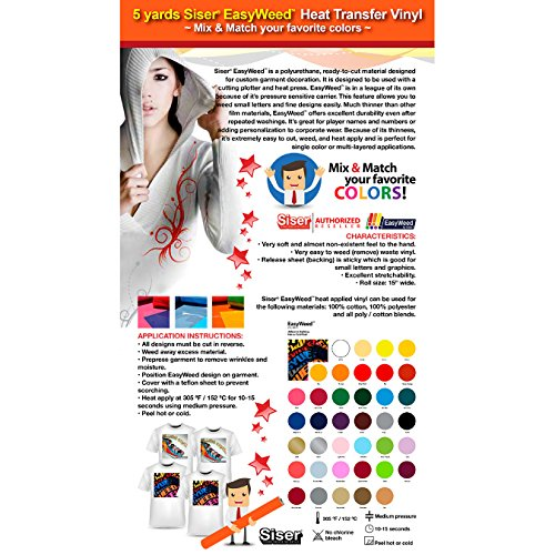 GERCUTTER Store - 5 Yards Heat Transfer Vinyl Siser EasyWeed 15