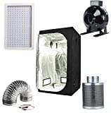 Hongruilite 300w/600w LED Grow Light+Multi-sized Grow Tent+4'' Inline Fan Carbon Air Filter Ducting Combo for Hydroponic Indoor Plant Growing System (600W LED+36''x36''x72''Grow Tent+4''Filter Kit)