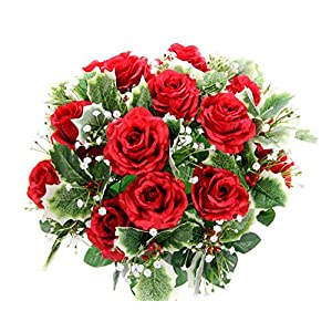 Admired By Nature GPB7804-RED Faux Filler Mixed Flower Bush, Rose Buds Holly Leaf – RD