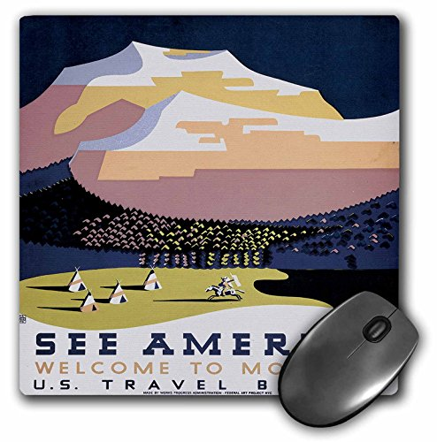 See America Welcome to Montana US Travel Bureau with Mountain - Mouse Pad, 8 by 8 inches (mp_171426_1)