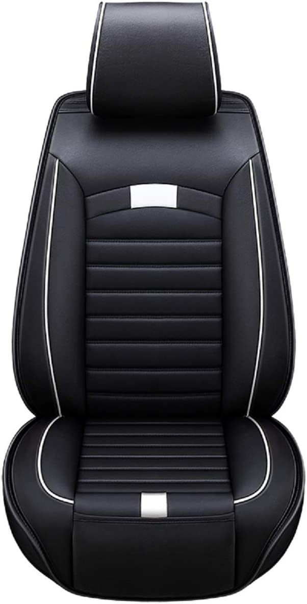 Black-White Airbag Compatible Car Seat Protector PU Fashion Car Seat Cover,Breathable Car Interior Set,Comfortable Adjustable Seat Cushions Universal Fit