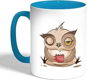 كوب سيراميك للقهوة، لون تركواز، بتصميم الشعور بالرضى - بومة