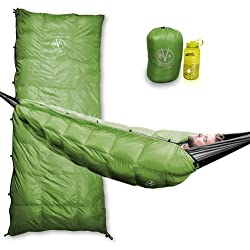 Outdoor Vitals Aerie 20°F Down Underquilt/Sleeping Bag, Use As Ultralight Underquilt, Sleeping Bag, Or Double Bag (Green 20° F, Regular)