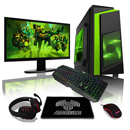 AWD-IT Ensemble PC de Bureau de Jeu – APU AMD Ryzen 3 3200G 4,0 GHz/Radeon Vega 8 • Écran LED 22″ • Clavier et Souris Gamer • 16 Go • 1 to • Étui à LED Verte • Windows 10